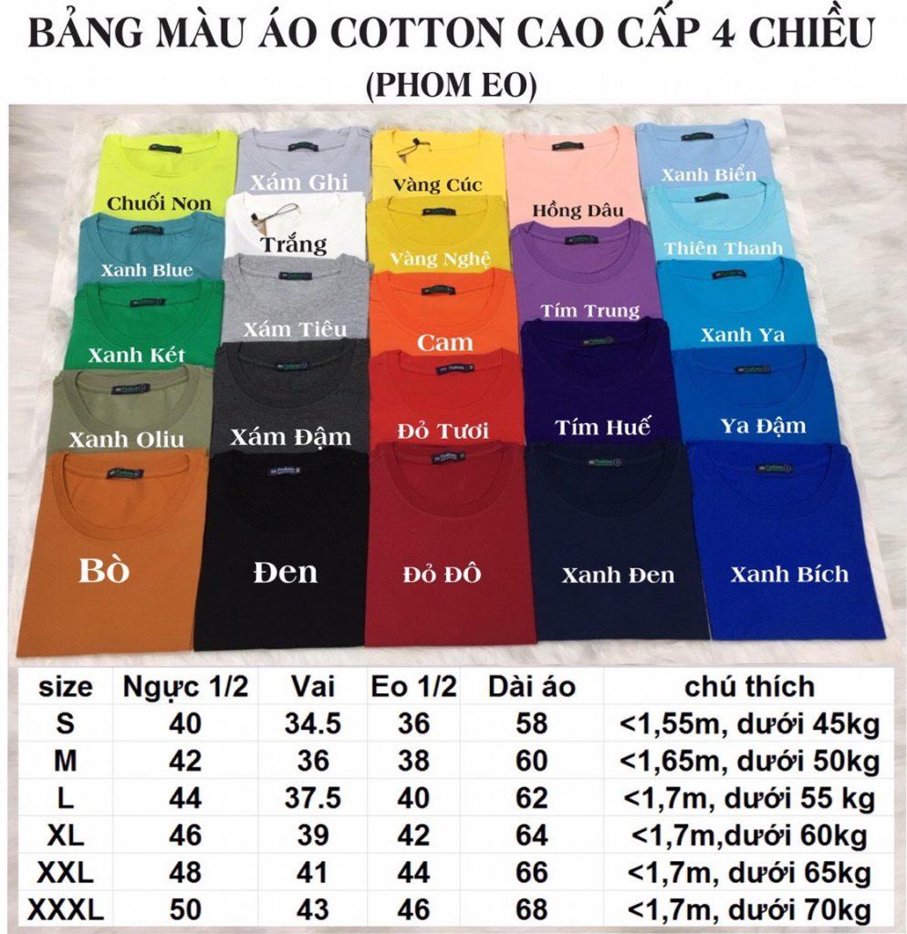 Bảng giá áo thun cotton cao cấp 4 chiều